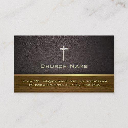 Classy Leather Wood Church Business Card Zazzle Com Business Card Template Design Business Card Design Business Cards