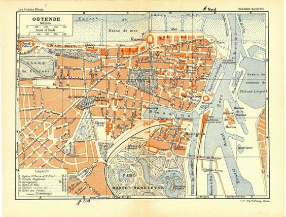 1930 Ostend City Plan Street Map West by CarambasVintage on Etsy – Map of Belgium with Cities