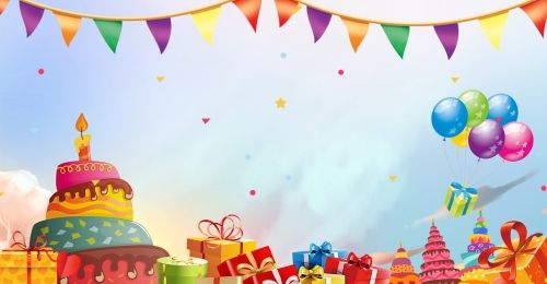 Happy Birthday Background For Colorful Cute Party In 2020