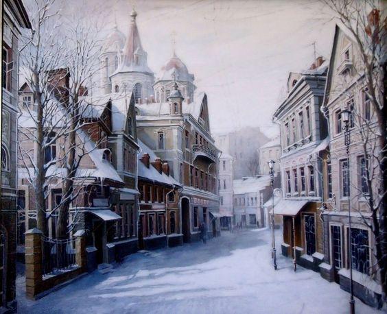 #Schnee, #Bäume, #Malerei, #Straße, #Beleuchtung, #Stadt, #Winter, #Zuhause, #Alexander Starodubov