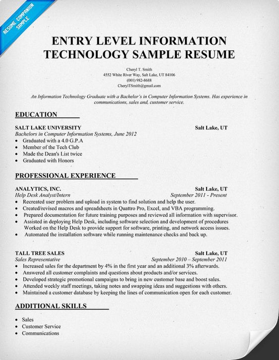 entry level information technology resume sample httpresumecompanioncom it resume samples across all industries pinterest entry level