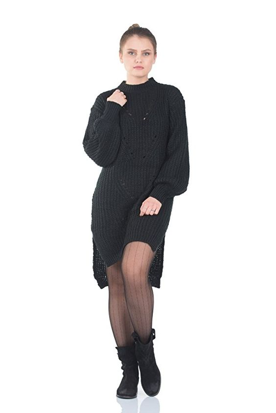 Simply Love 'Eva' Womens Knitted Crewneck Sweater Dress Long Sleeve Slim Pullover Knee Lenght (Black)