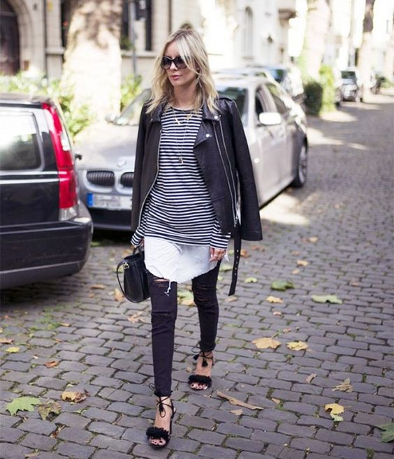 Upgrade your striped tee look with a tunic worn underneath.: