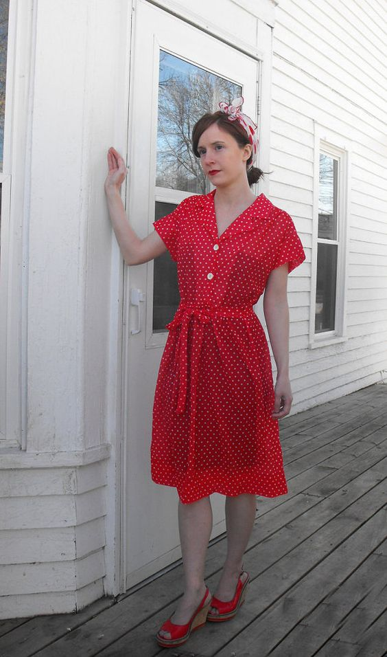 Vintage Red Dress Polka Dot Retro Casual Rockabilly Sheer S M - $29.99