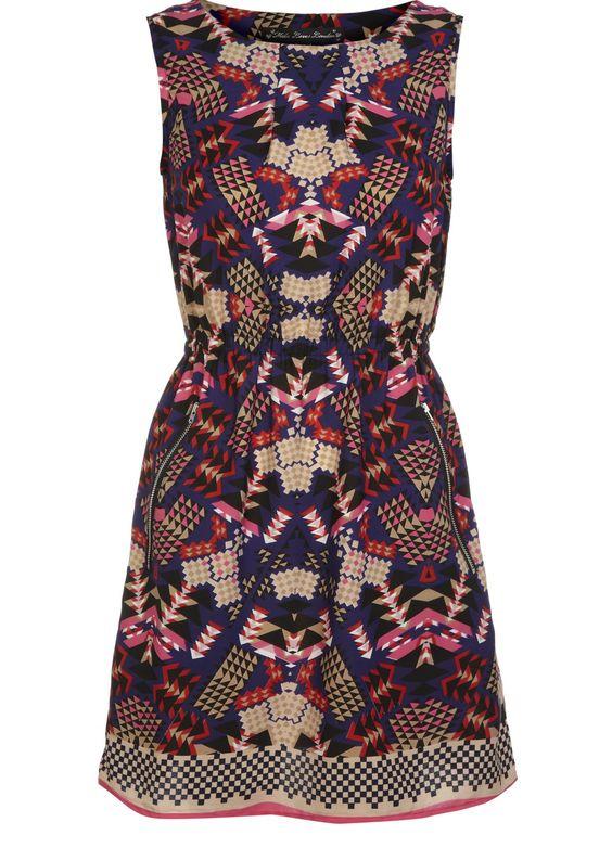 Aztec Print Zip Dress