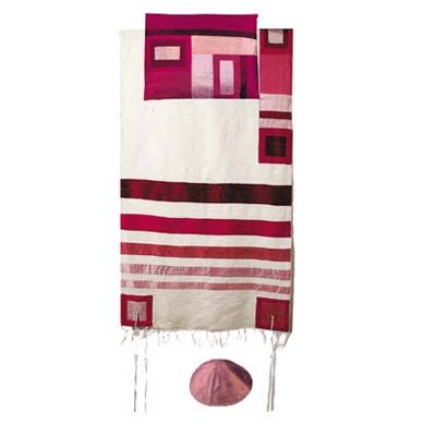 Yair Emanuel Tallit Set – Maroon Stripes on White
