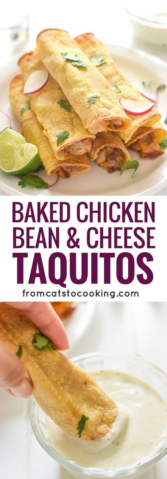 Baked Chicken, Bean and Cheese Taquitos | Recipe | Easy meals, Baked ...