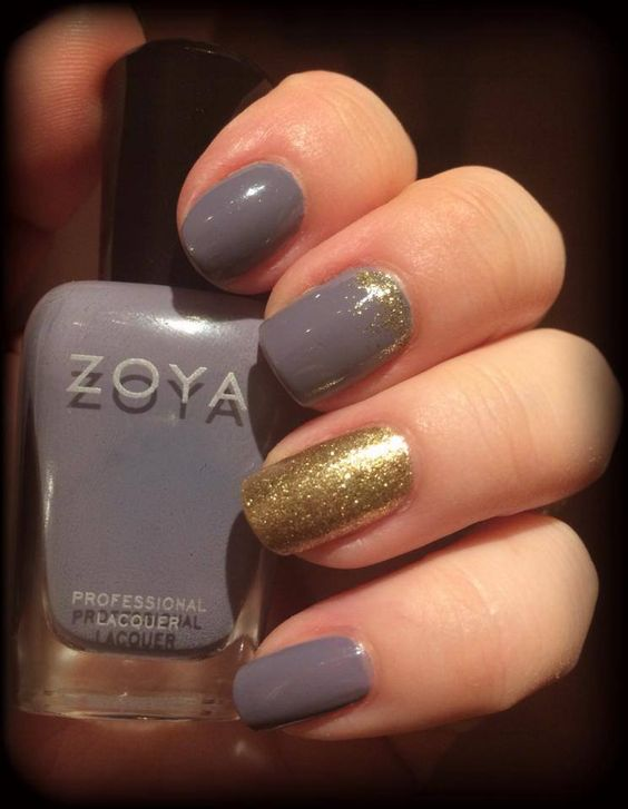 """Zoya  """"Caitlin"""" and """"Ziv"""" with Color Club's Gold Glitter."""