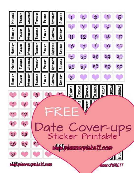 @planner.PICKETT: Free Date Cover Printable Planner Stickers
