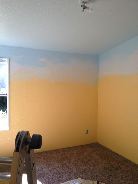 Paint Walls Yellow Ceiling And Top Of Wall Blue Sponge White
