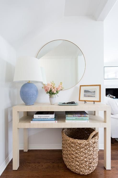 Aerin Toulon Table Lamp On A Tan Grasscloth Console Table Styled