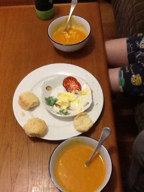 Belinda's fine reproduction of the scone recipe, whipped after to serve with pumpkin soup.