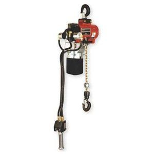Hoist, Air Chain, 550 Lb Cap, 10 Ft Lift by Ingersoll-Rand/Aro. $5111.00. Air Chain Hoist, Heavy Duty, Capacity 550 Lb, Lift 10 Ft, Lift Speed 0 to 82 FPM, Min Between Hooks 17 In, Number Parts of Chain 1, Adjustable Band Type Brake, Overall Length 10 19/32 In, Overall Width 10 In, Inlet Size 1/2 In NPT, Air Pressure 90 PSI, Air Consumption 65 to 70 SCFM, Pendant Control, 360 Deg Rotating Safety Latch Hook Suspension, Noise Level 85 dB, Powder Coat Red Finish, ANSI B30.16, Inc...