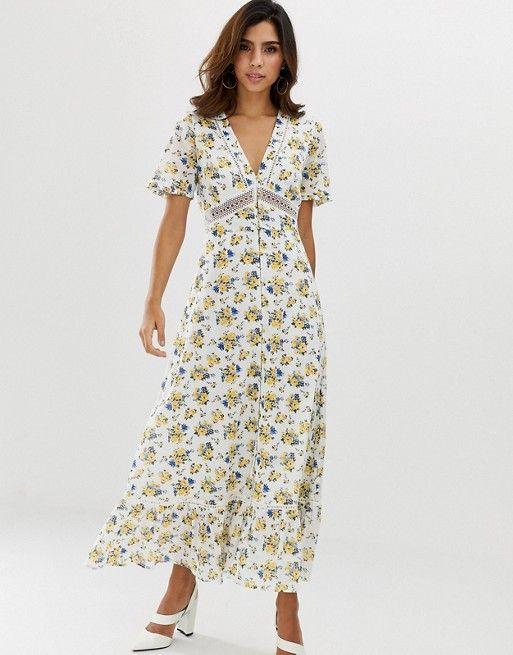 Asos Design Lace Insert Button Through Maxi Tea Dress In Ditsy Floral Print Asos Tea Dress Animal Print Maxi Dresses Maxi Dress Evening
