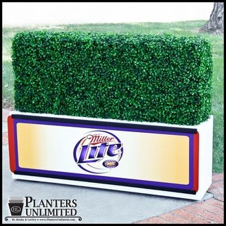 Custom Artificial Hedge Planters with removable signage- Great for event branding.
