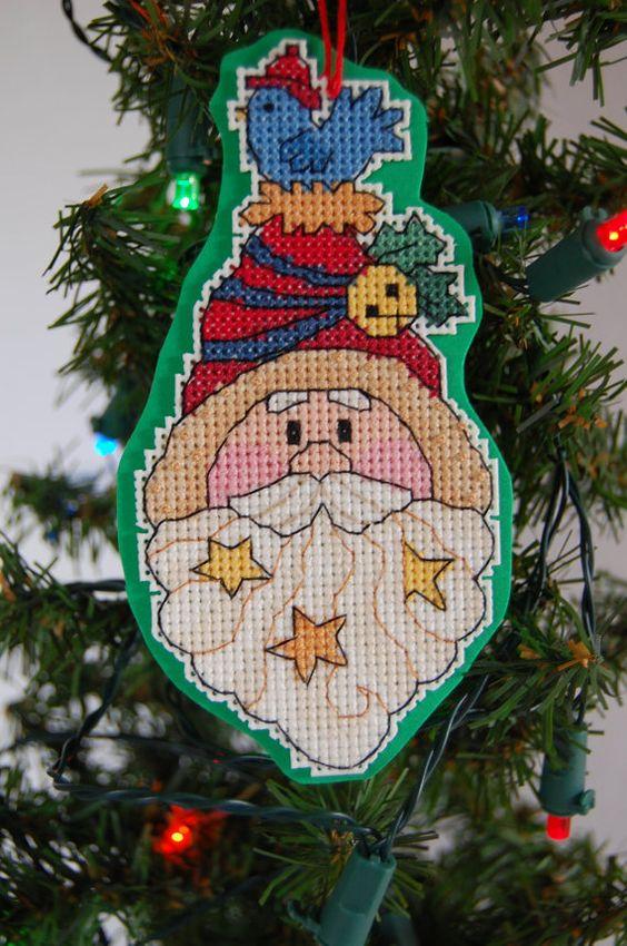 Santa Face Cross Stitch Ornament by CraftsForKids on Etsy