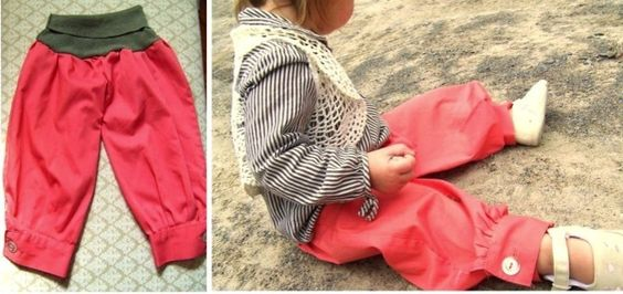 Upcycle shirt sleeves into harem pants