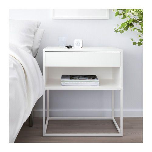 Vikhammer Avlastningsbord Vit 60x39 Cm Ikea Bedroom Bedside Table Bedroom Night Stands White Bedside Table