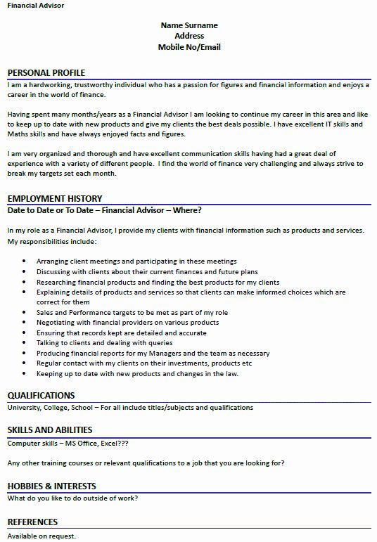 Financial Advisor Resume Example Awesome Financial Advisor Cv Example Icover In 2020 Financial Advisors Best Cover Letter Examples Sample Resume