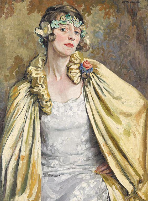 Emily Hilda Rix Nicholas - The Gold Coat (Portrait of Dorothy Richmond) (1925):