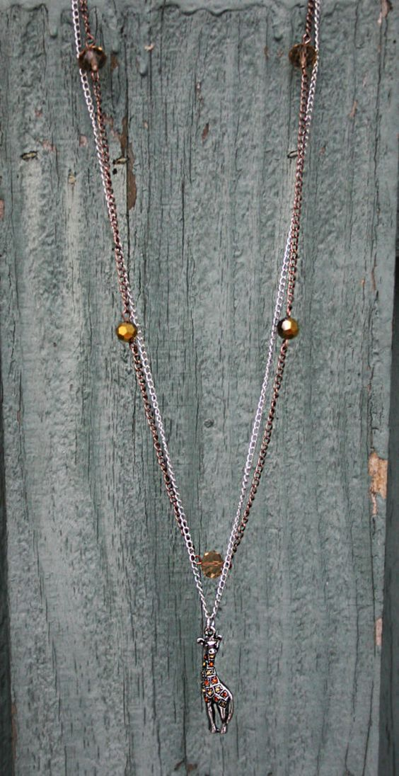 Giraffe Charm on Silver Chain paired with Gold and Taupe Beads on Copper Chain - Multiple Chain Adjustable Necklace