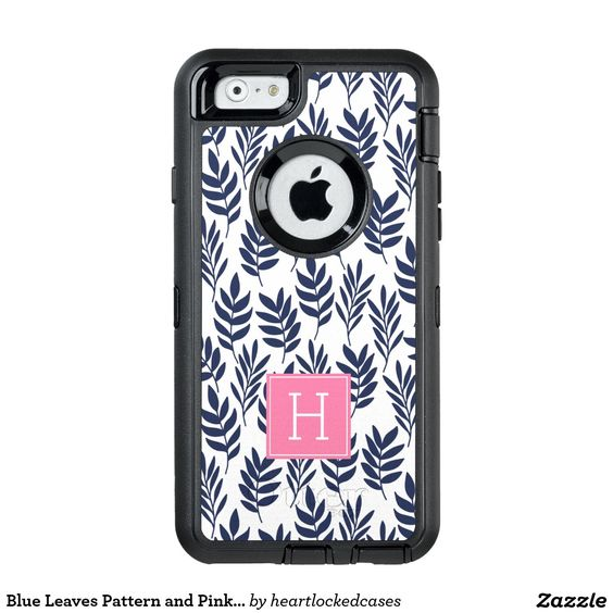 Blue Leaves Pattern and Pink Monogram OtterBox iPhone 6/6s Case