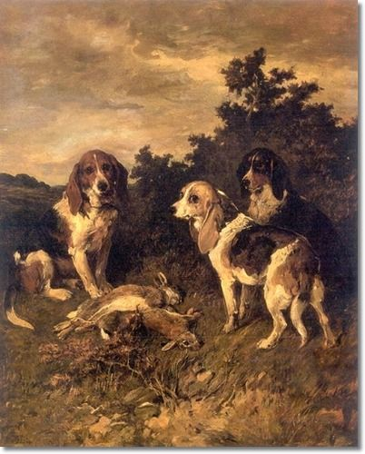 Hounds With the Days Bag by John Emms.