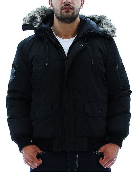 Black Kenneth Cole Reaction Men's Bubble Down Jacket Coat Hooded