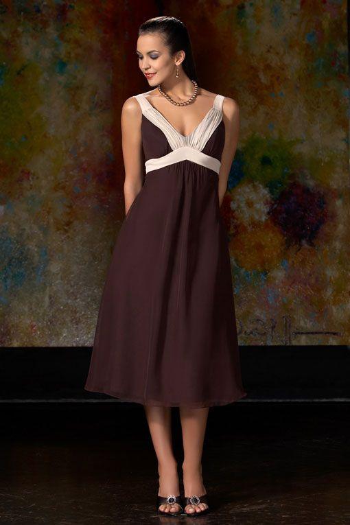 V-neck A-line with ruffle embellishment chiffon bridesmaid dress