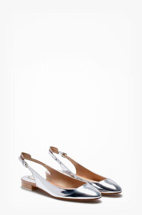 Pin for Later: 14 Ideen für ein frisches Büro-Outift Massimo Dutti Silver Ballerinas Massimo Dutti Slingback Ballerina ($135)