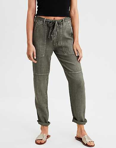 Ae High Waisted Linen Tapered Pant Olive Clothes Pants Pants