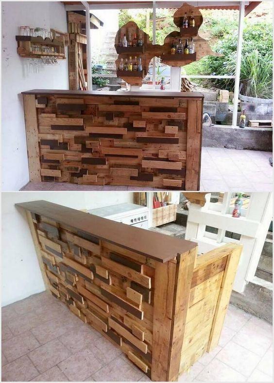Artistic Wooden Pallet Bar Table And Shelves Jpg 750 1050 Wood Pallet Furniture Wooden Pallet Crafts Pallet Designs
