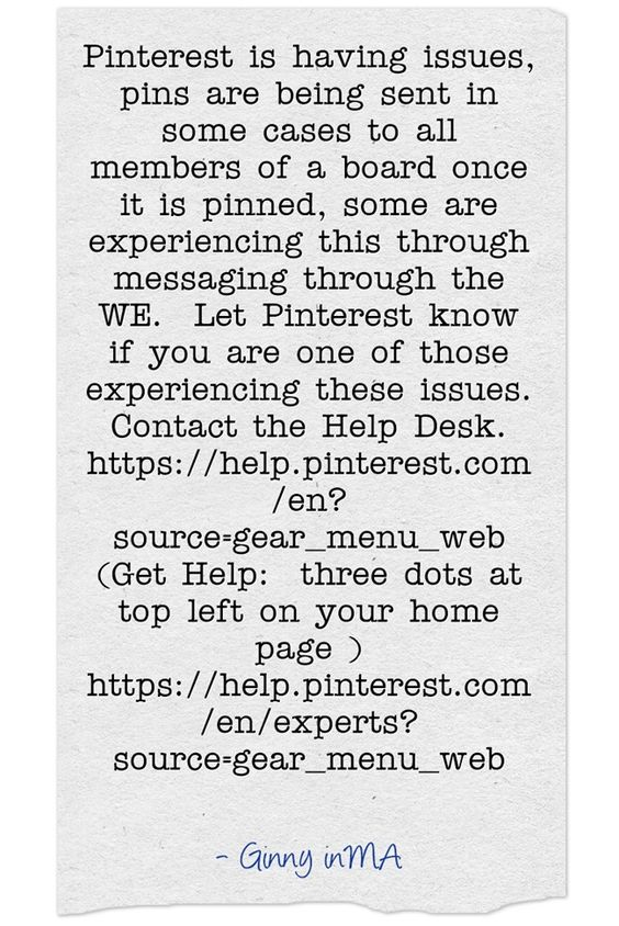 Pinterest is having issues, pins are being sent in some cases to...