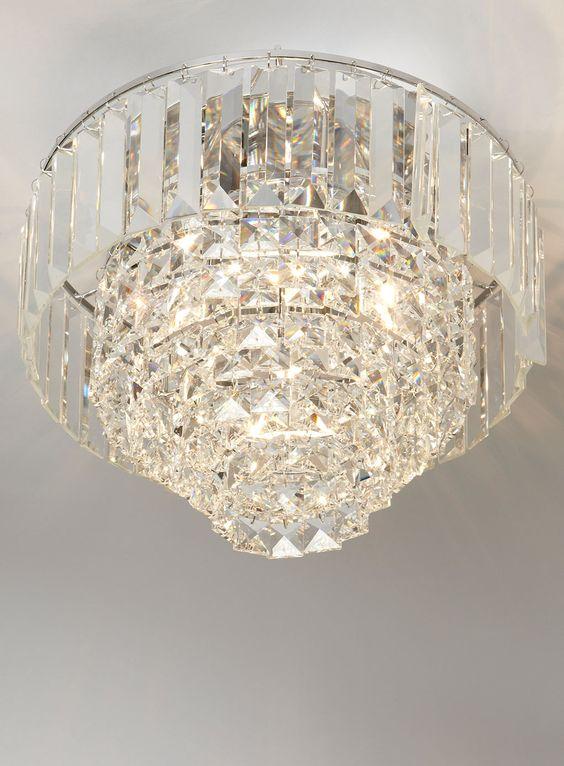 Bhs Ceiling Lights: Chrome Paladina Crystal Flush - ceiling lights - Lighting - BHS,Lighting