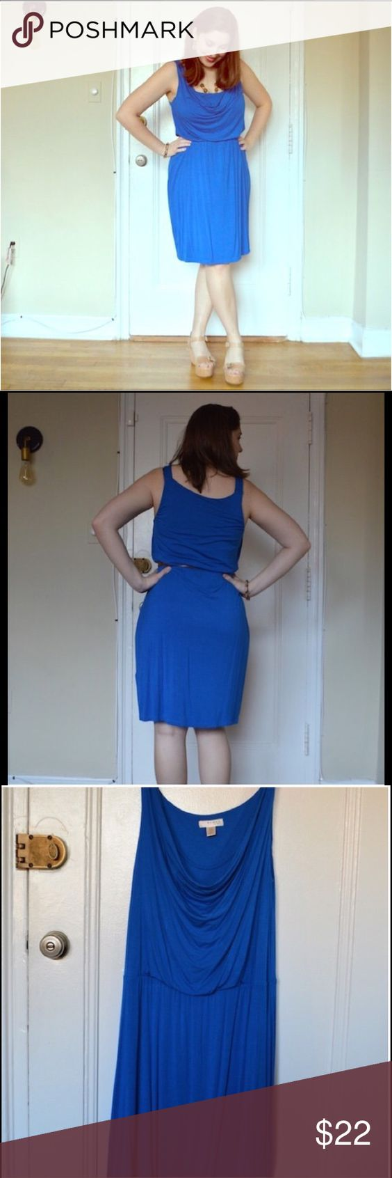 Kenar  dress size 1x in bright blue Bright blue dress made of drapery jersey fabric, hits at or right above knee.  Sleeveless.  Perfect fall color. Kenar Dresses Midi