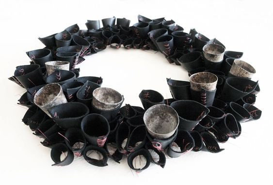 HIDDEN CURRICULUM - Niki Stylianou. - Landscape #3 Necklace / Hand cut and hand stitched leather, thread, copper, pigments, patina