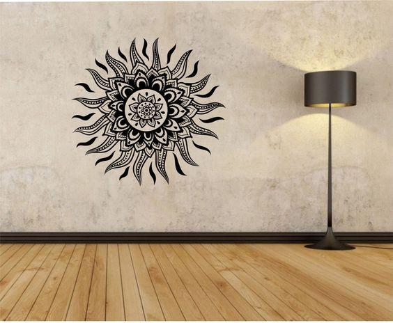Vinyls sun and sun mandala on pinterest for Aztec mural tattoos