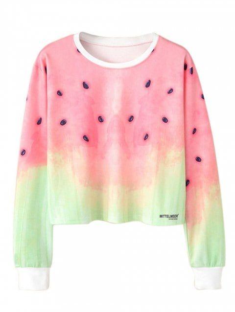Ombre Watermelon Printed Crop Top Multicolor L Crop Top