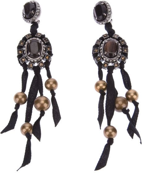 Lanvin Black Gem Stone Earrings