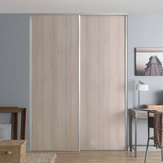 1 porte de placard coulissante valla acacia 62 2 x 245 6 for Store castorama interieur