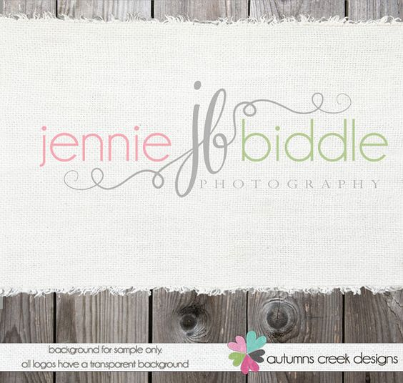 Custom Premade Photography Logo - Swirls and Initials Logo and Watermark Design Name Text Logo. $40.00, via Etsy.