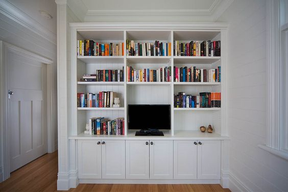 Book shelves, cupboard idea for kids play area/nook