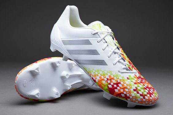 adidas Football Boots - adidas Predator LZ TRX FG SL - Firm Ground - Soccer Cleats - Running White-Metallic Silver-Solar Slime