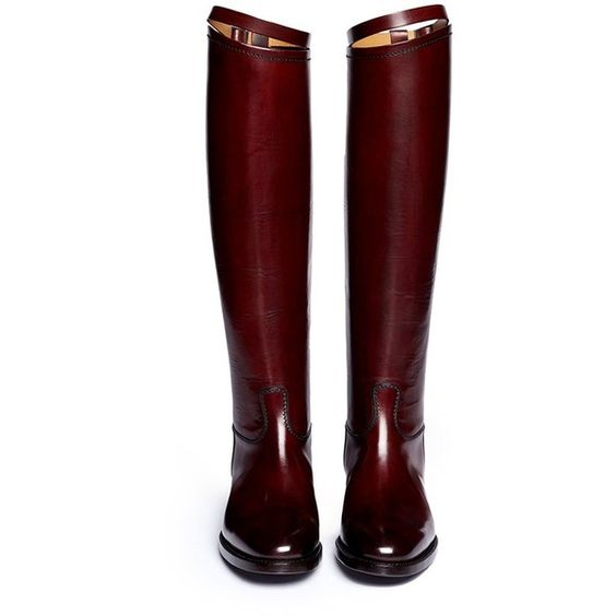 ALBERTO FASCIANI Top strap leather riding boots (695 CAD) ❤ liked on Polyvore