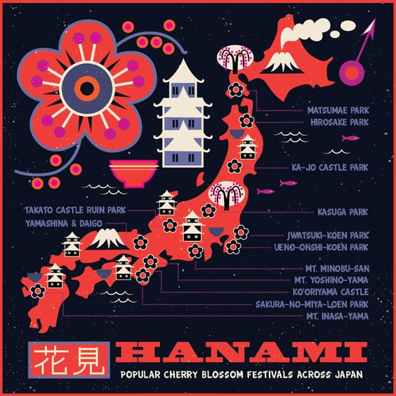 Hanami map of the 'top Cherry Blossom Festivals in Japan' by Tracy Walker.