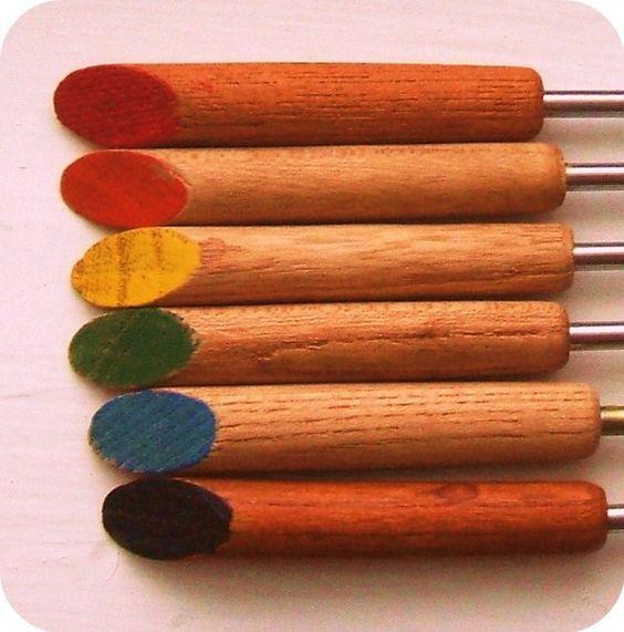 Unique Vintage Wood Japanese Fondue Forks