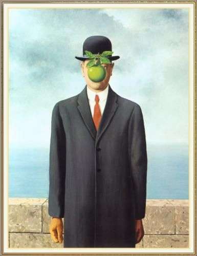 The Son of Man - Rene Magritte  Completion Date: 1964  Place of Creation: Belgium  Style: Surrealism  Period: Later Period  Genre: self-portrait  Technique: oil  Material: canvas