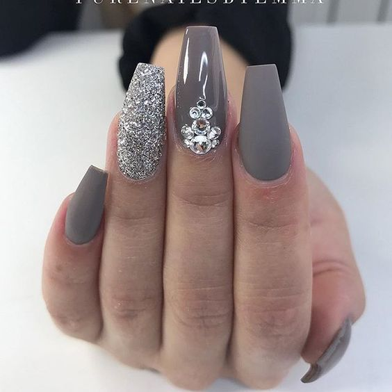 grey and glittery nails