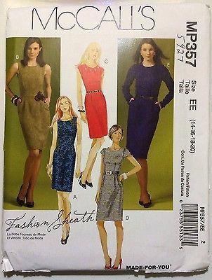 NEW PLUS SIZE McCall's MP357/5727 Fashion Sheath (14-16-18-20)