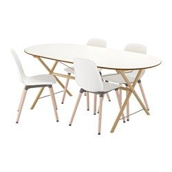 SLÄHULT/DALSHULT / LEIFARNE, Table and 4 chairs, birch, white